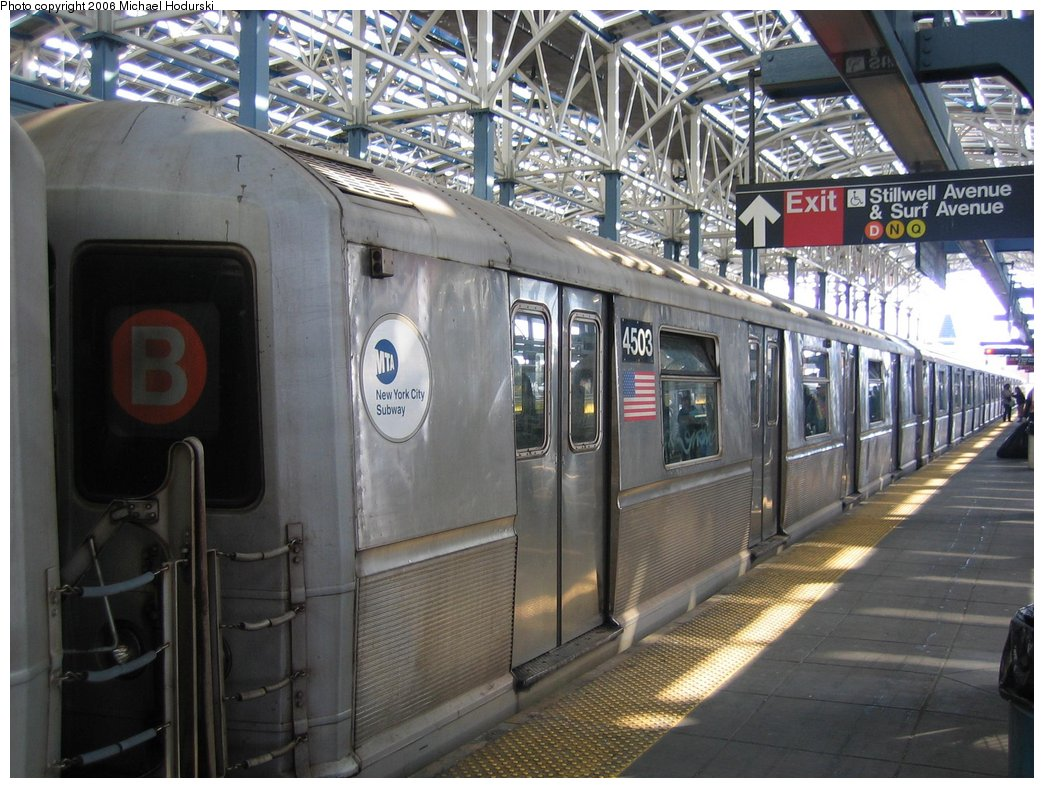 (190k, 1044x788)<br><b>Country:</b> United States<br><b>City:</b> New York<br><b>System:</b> New York City Transit<br><b>Location:</b> Coney Island/Stillwell Avenue<br><b>Car:</b> R-40M (St. Louis, 1969)  4503 <br><b>Photo by:</b> Michael Hodurski<br><b>Date:</b> 3/10/2006<br><b>Notes:</b> Train relaying at Stillwell Avenue track 6 before heading for car wash at Coney Island yard.<br><b>Viewed (this week/total):</b> 0 / 2721