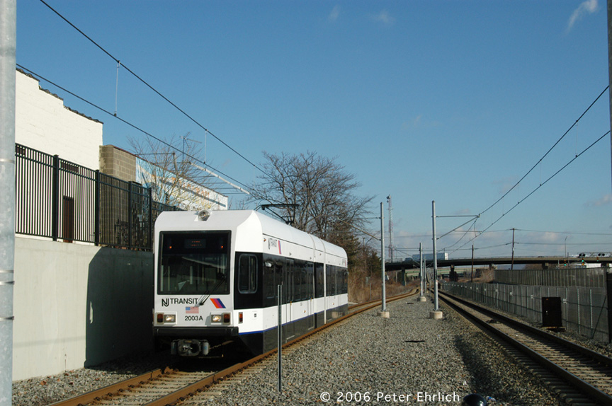 (187k, 864x574)<br><b>Country:</b> United States<br><b>City:</b> Bayonne, NJ<br><b>System:</b> Hudson Bergen Light Rail<br><b>Location:</b> East 45th Street <br><b>Car:</b> NJT-HBLR LRV (Kinki-Sharyo, 1998-99)  2003 <br><b>Photo by:</b> Peter Ehrlich<br><b>Date:</b> 1/25/2006<br><b>Viewed (this week/total):</b> 1 / 1434