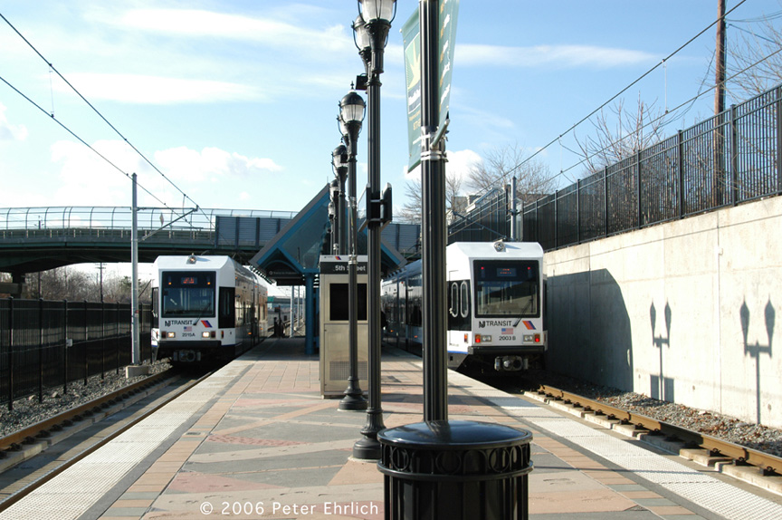 (213k, 864x574)<br><b>Country:</b> United States<br><b>City:</b> Bayonne, NJ<br><b>System:</b> Hudson Bergen Light Rail<br><b>Location:</b> East 45th Street <br><b>Car:</b> NJT-HBLR LRV (Kinki-Sharyo, 1998-99)  2015/2003 <br><b>Photo by:</b> Peter Ehrlich<br><b>Date:</b> 1/25/2006<br><b>Viewed (this week/total):</b> 0 / 1579