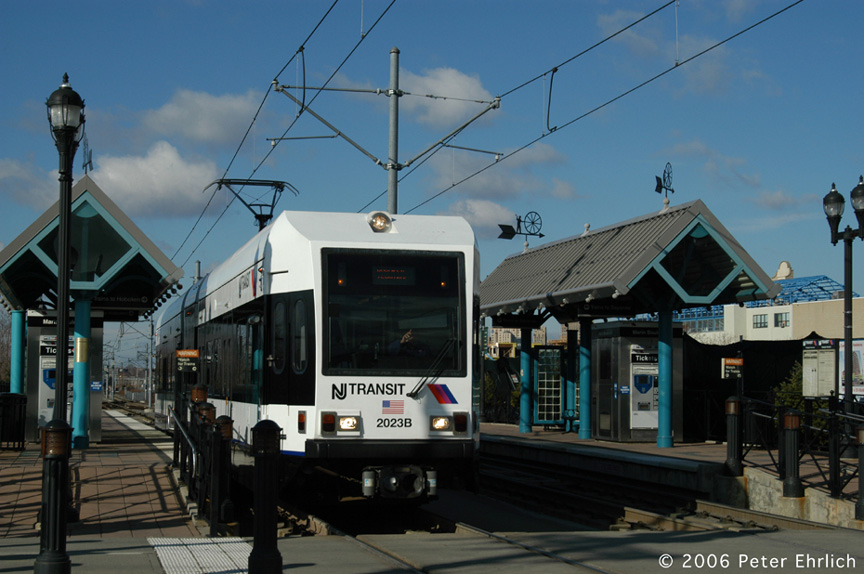 (174k, 864x574)<br><b>Country:</b> United States<br><b>City:</b> Jersey City, NJ<br><b>System:</b> Hudson Bergen Light Rail<br><b>Location:</b> Marin Boulevard <br><b>Car:</b> NJT-HBLR LRV (Kinki-Sharyo, 1998-99)  2023 <br><b>Photo by:</b> Peter Ehrlich<br><b>Date:</b> 1/25/2006<br><b>Viewed (this week/total):</b> 1 / 1308