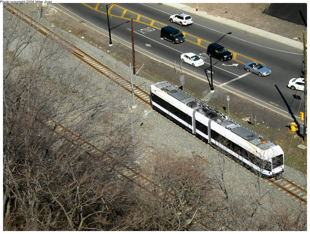 (354k, 1044x788)<br><b>Country:</b> United States<br><b>City:</b> Weehawken, NJ<br><b>System:</b> Hudson Bergen Light Rail<br><b>Location:</b> Port Imperial <br><b>Car:</b> NJT-HBLR LRV (Kinki-Sharyo, 1998-99)  2049 <br><b>Photo by:</b> Mike Jiran<br><b>Date:</b> 4/2/2006<br><b>Viewed (this week/total):</b> 3 / 1692