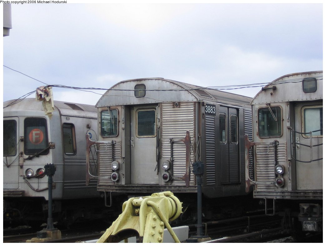 (130k, 1044x788)<br><b>Country:</b> United States<br><b>City:</b> New York<br><b>System:</b> New York City Transit<br><b>Location:</b> Coney Island Yard<br><b>Car:</b> R-32 (Budd, 1964)  3883 <br><b>Photo by:</b> Michael Hodurski<br><b>Date:</b> 3/26/2006<br><b>Viewed (this week/total):</b> 1 / 2869