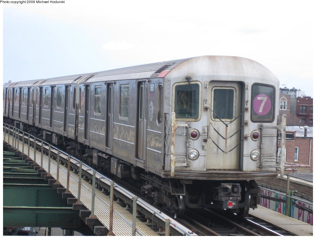 (149k, 1044x788)<br><b>Country:</b> United States<br><b>City:</b> New York<br><b>System:</b> New York City Transit<br><b>Line:</b> IRT Flushing Line<br><b>Location:</b> Junction Boulevard <br><b>Route:</b> 7<br><b>Car:</b> R-62A (Bombardier, 1984-1987)  1681 <br><b>Photo by:</b> Michael Hodurski<br><b>Date:</b> 3/26/2006<br><b>Viewed (this week/total):</b> 3 / 1543