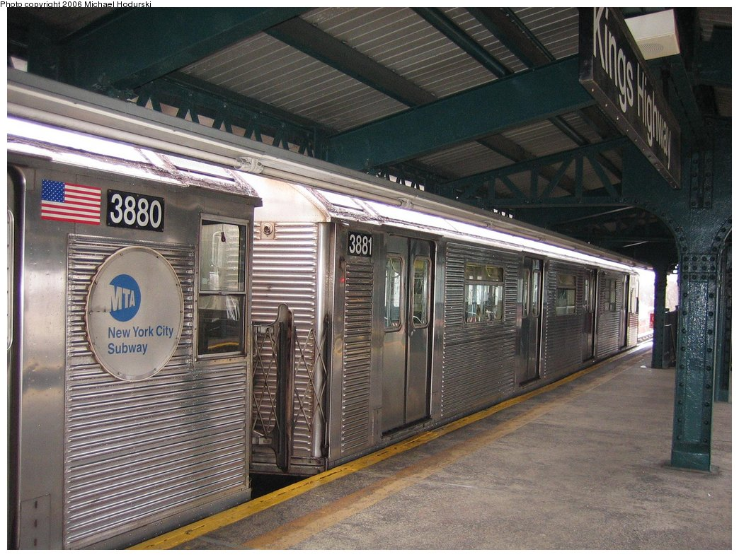 (208k, 1044x788)<br><b>Country:</b> United States<br><b>City:</b> New York<br><b>System:</b> New York City Transit<br><b>Line:</b> BMT Culver Line<br><b>Location:</b> Kings Highway <br><b>Route:</b> F<br><b>Car:</b> R-32 (GE Rebuild) 3881 <br><b>Photo by:</b> Michael Hodurski<br><b>Date:</b> 4/14/2006<br><b>Viewed (this week/total):</b> 1 / 1864