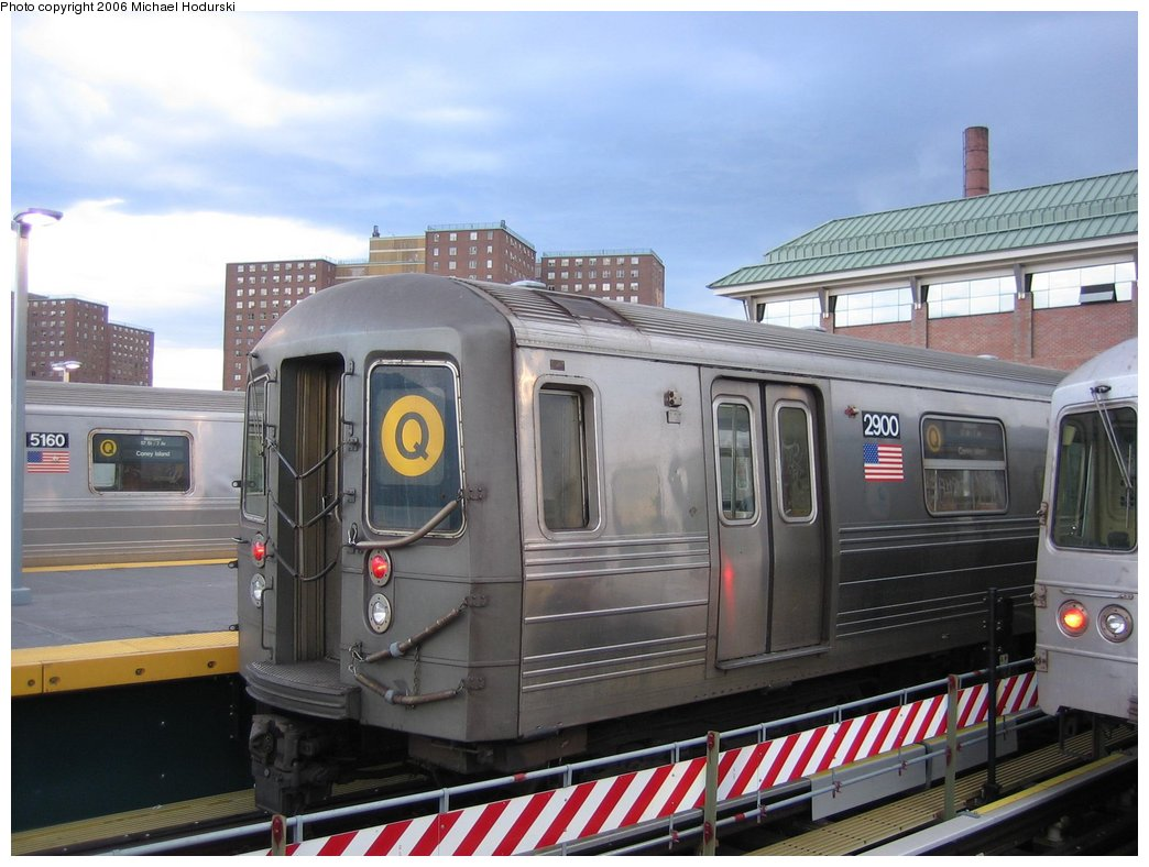 (154k, 1044x788)<br><b>Country:</b> United States<br><b>City:</b> New York<br><b>System:</b> New York City Transit<br><b>Location:</b> Coney Island/Stillwell Avenue<br><b>Route:</b> Q<br><b>Car:</b> R-68 (Westinghouse-Amrail, 1986-1988)  2900 <br><b>Photo by:</b> Michael Hodurski<br><b>Date:</b> 4/13/2006<br><b>Viewed (this week/total):</b> 5 / 2302