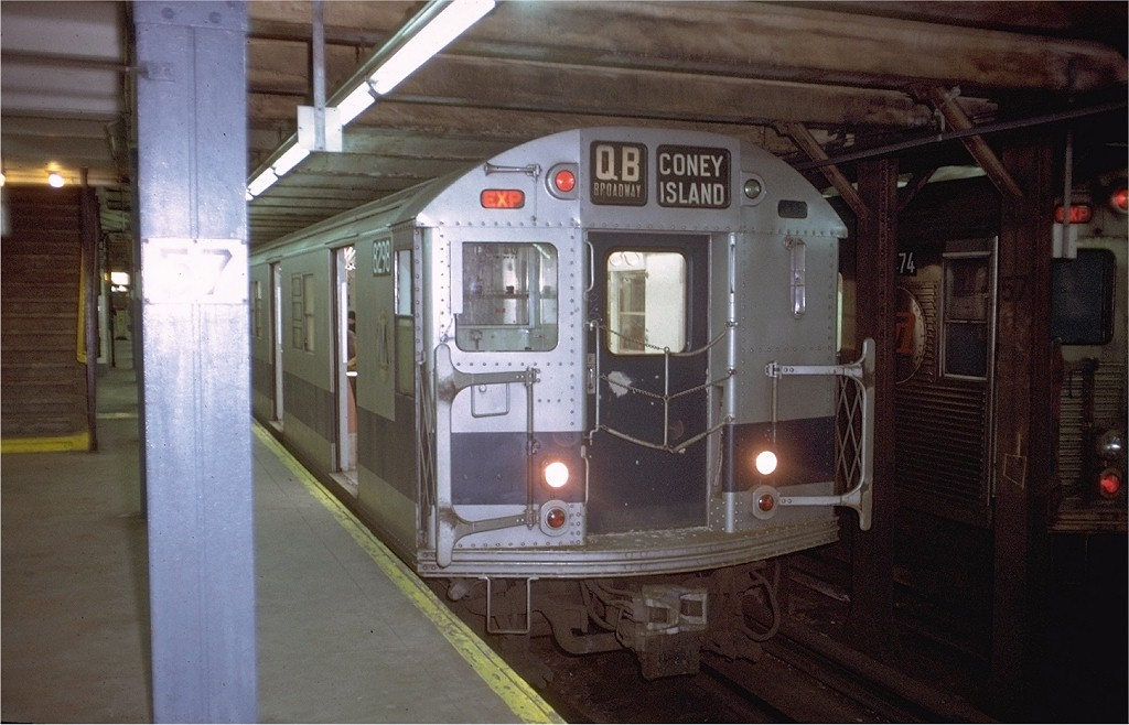 (171k, 1024x658)<br><b>Country:</b> United States<br><b>City:</b> New York<br><b>System:</b> New York City Transit<br><b>Line:</b> BMT Broadway Line<br><b>Location:</b> 57th Street <br><b>Route:</b> QB<br><b>Car:</b> R-30 (St. Louis, 1961) 8298 <br><b>Photo by:</b> Doug Grotjahn<br><b>Collection of:</b> Joe Testagrose<br><b>Date:</b> 12/23/1971<br><b>Viewed (this week/total):</b> 6 / 3041