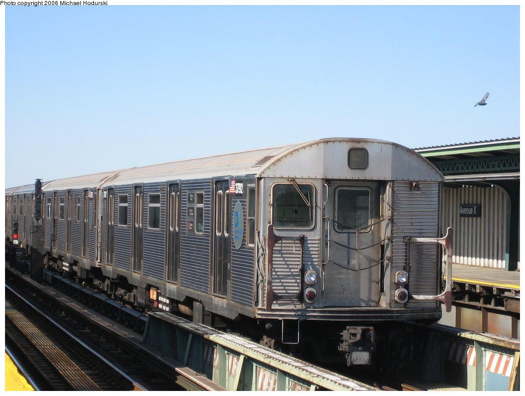 (150k, 1044x788)<br><b>Country:</b> United States<br><b>City:</b> New York<br><b>System:</b> New York City Transit<br><b>Line:</b> BMT Culver Line<br><b>Location:</b> Avenue X <br><b>Route:</b> F<br><b>Car:</b> R-32 (Budd, 1964)  3792 <br><b>Photo by:</b> Michael Hodurski<br><b>Date:</b> 4/28/2006<br><b>Viewed (this week/total):</b> 1 / 2089