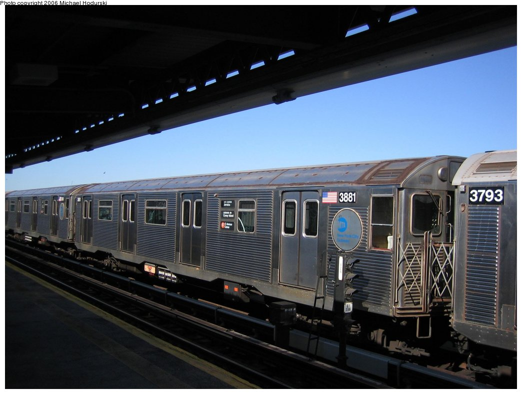 (139k, 1044x788)<br><b>Country:</b> United States<br><b>City:</b> New York<br><b>System:</b> New York City Transit<br><b>Line:</b> BMT Culver Line<br><b>Location:</b> Avenue X <br><b>Route:</b> F<br><b>Car:</b> R-32 (GE Rebuild) 3881 <br><b>Photo by:</b> Michael Hodurski<br><b>Date:</b> 4/28/2006<br><b>Viewed (this week/total):</b> 2 / 2263