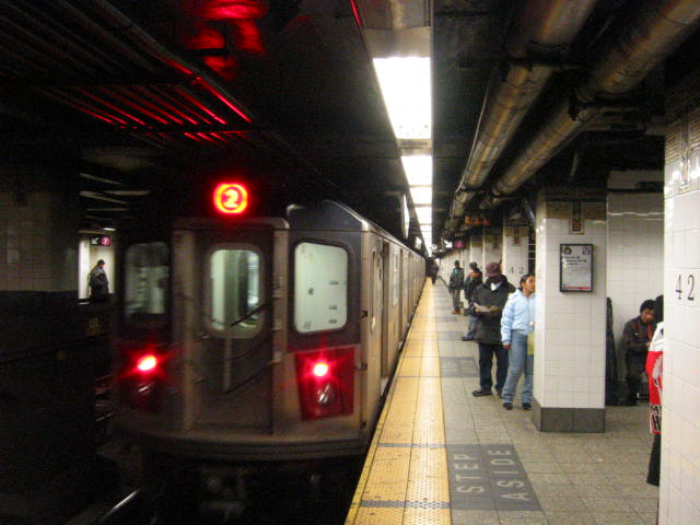 (56k, 640x480)<br><b>Country:</b> United States<br><b>City:</b> New York<br><b>System:</b> New York City Transit<br><b>Line:</b> IRT East Side Line<br><b>Location:</b> Grand Central <br><b>Route:</b> 2<br><b>Car:</b> R-142 or R-142A (Number Unknown)  <br><b>Photo by:</b> Oren H.<br><b>Date:</b> 1/21/2006<br><b>Notes:</b> 2 train rerouted down the east side.<br><b>Viewed (this week/total):</b> 3 / 3785