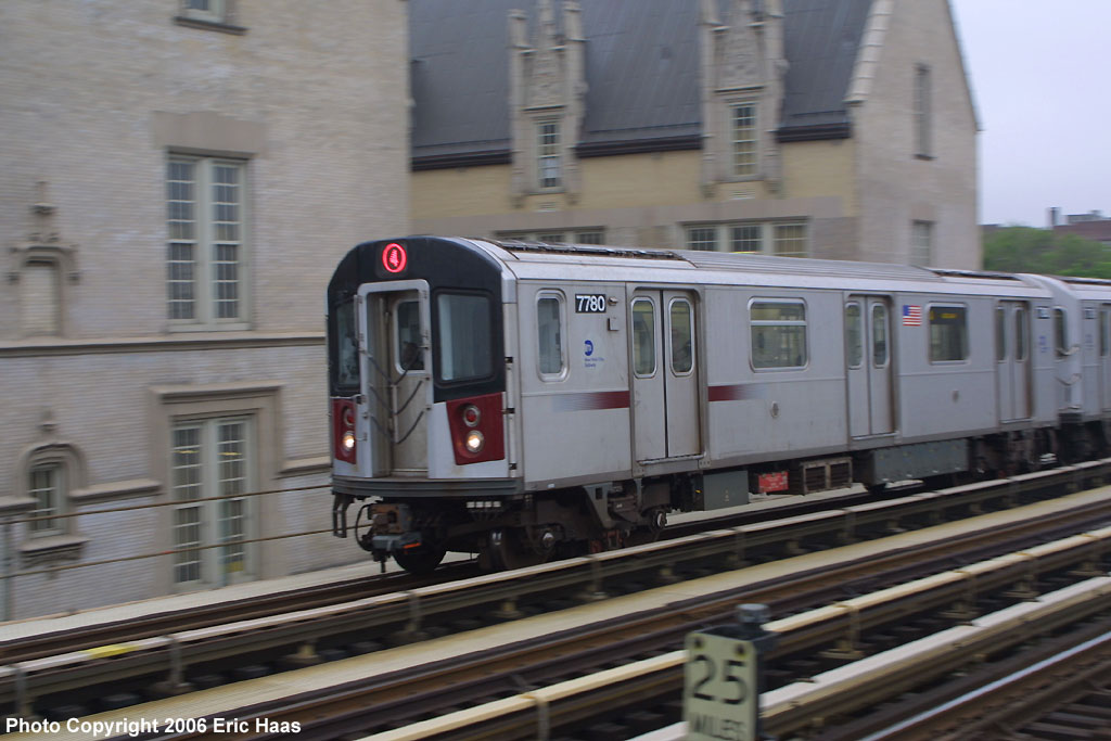 (147k, 1024x683)<br><b>Country:</b> United States<br><b>City:</b> New York<br><b>System:</b> New York City Transit<br><b>Line:</b> IRT Woodlawn Line<br><b>Location:</b> Fordham Road <br><b>Route:</b> 4<br><b>Car:</b> R-142A (Supplemental Order, Kawasaki, 2003-2004)  7780 <br><b>Photo by:</b> Eric Haas<br><b>Date:</b> 5/15/2006<br><b>Viewed (this week/total):</b> 0 / 3975