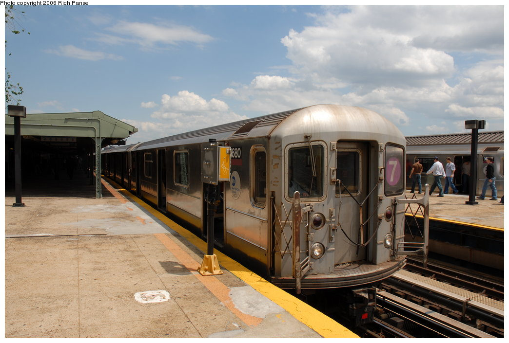 (180k, 1044x705)<br><b>Country:</b> United States<br><b>City:</b> New York<br><b>System:</b> New York City Transit<br><b>Line:</b> IRT Flushing Line<br><b>Location:</b> Willets Point/Mets (fmr. Shea Stadium) <br><b>Route:</b> 7<br><b>Car:</b> R-62A (Bombardier, 1984-1987)  1680 <br><b>Photo by:</b> Richard Panse<br><b>Date:</b> 5/20/2006<br><b>Viewed (this week/total):</b> 0 / 1717