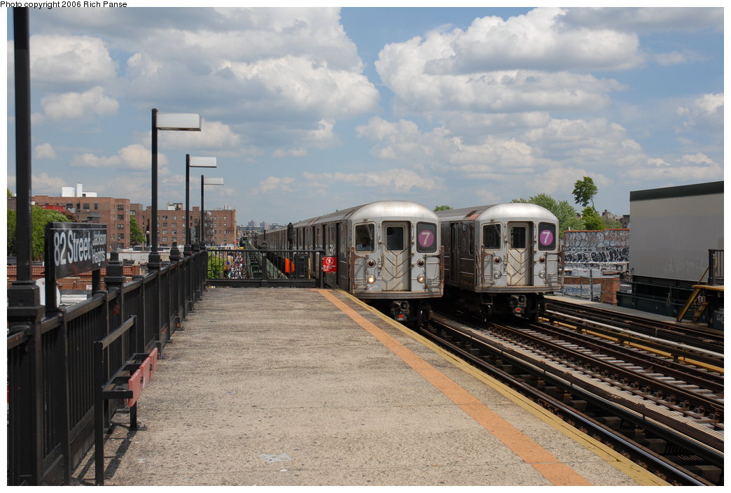 (195k, 1044x705)<br><b>Country:</b> United States<br><b>City:</b> New York<br><b>System:</b> New York City Transit<br><b>Line:</b> IRT Flushing Line<br><b>Location:</b> 82nd Street/Jackson Heights <br><b>Route:</b> 7<br><b>Car:</b> R-62A (Bombardier, 1984-1987)  1821 <br><b>Photo by:</b> Richard Panse<br><b>Date:</b> 5/20/2006<br><b>Viewed (this week/total):</b> 2 / 2402