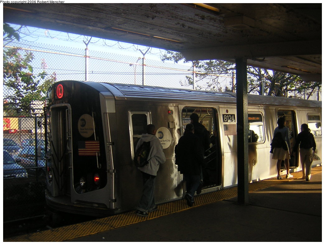 (216k, 1044x788)<br><b>Country:</b> United States<br><b>City:</b> New York<br><b>System:</b> New York City Transit<br><b>Line:</b> BMT Canarsie Line<br><b>Location:</b> Rockaway Parkway <br><b>Route:</b> L<br><b>Car:</b> R-143 (Kawasaki, 2001-2002) 8124 <br><b>Photo by:</b> Robert Mencher<br><b>Date:</b> 5/17/2006<br><b>Viewed (this week/total):</b> 2 / 2250