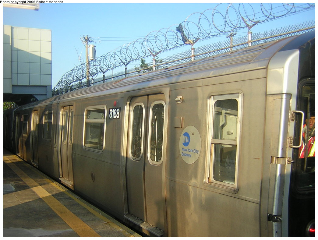 (204k, 1044x788)<br><b>Country:</b> United States<br><b>City:</b> New York<br><b>System:</b> New York City Transit<br><b>Line:</b> BMT Canarsie Line<br><b>Location:</b> Rockaway Parkway <br><b>Route:</b> L<br><b>Car:</b> R-143 (Kawasaki, 2001-2002) 8188 <br><b>Photo by:</b> Robert Mencher<br><b>Date:</b> 5/17/2006<br><b>Viewed (this week/total):</b> 5 / 2695