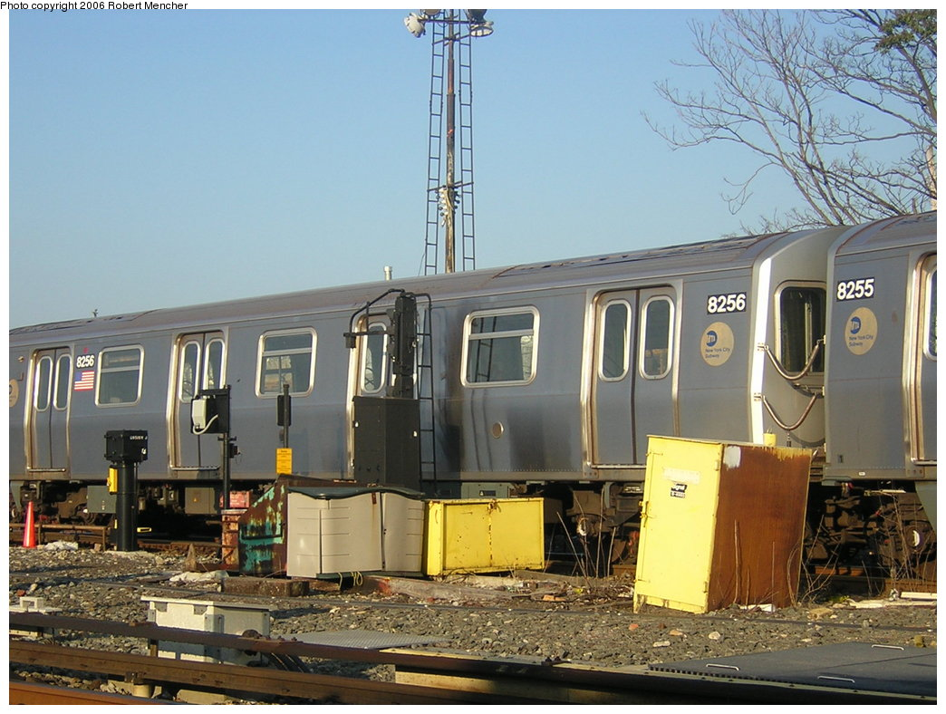 (217k, 1044x788)<br><b>Country:</b> United States<br><b>City:</b> New York<br><b>System:</b> New York City Transit<br><b>Location:</b> Rockaway Parkway (Canarsie) Yard<br><b>Car:</b> R-143 (Kawasaki, 2001-2002) 8256 <br><b>Photo by:</b> Robert Mencher<br><b>Date:</b> 5/17/2006<br><b>Viewed (this week/total):</b> 0 / 1565