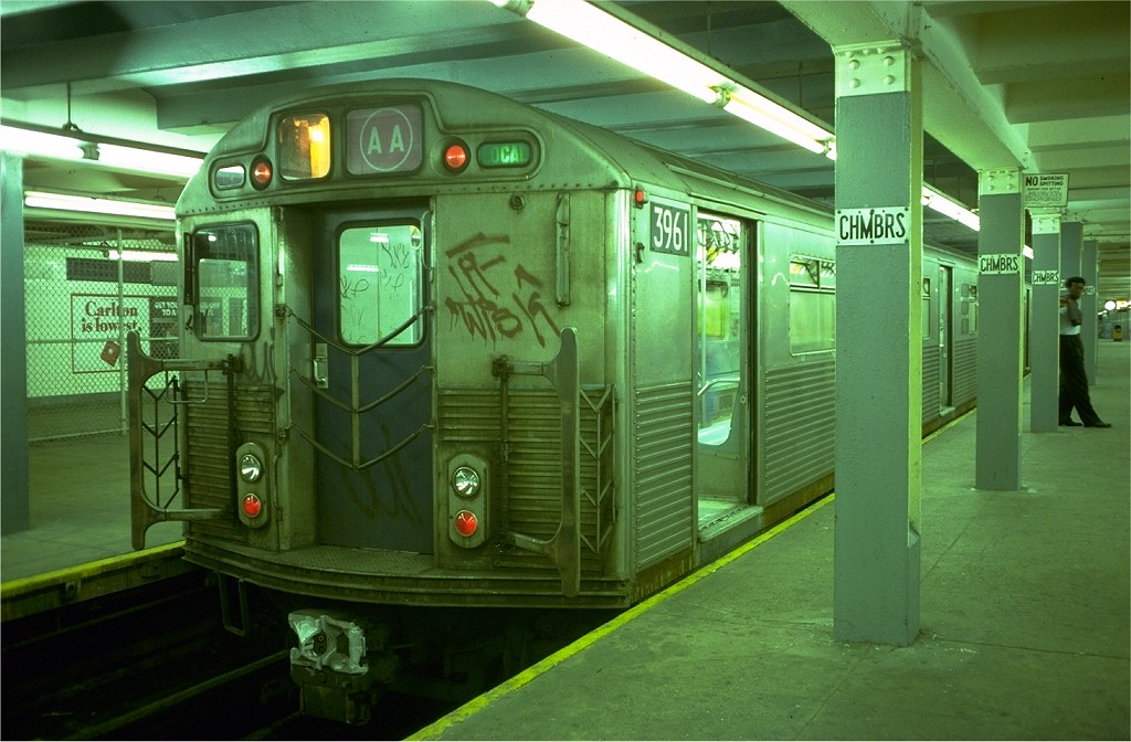 (186k, 1024x672)<br><b>Country:</b> United States<br><b>City:</b> New York<br><b>System:</b> New York City Transit<br><b>Line:</b> IND 8th Avenue Line<br><b>Location:</b> Chambers Street/World Trade Center <br><b>Route:</b> AA<br><b>Car:</b> R-38 (St. Louis, 1966-1967)  3961 <br><b>Collection of:</b> Joe Testagrose<br><b>Date:</b> 6/26/1977<br><b>Viewed (this week/total):</b> 0 / 5394