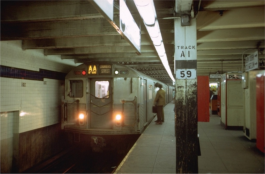 (172k, 1024x673)<br><b>Country:</b> United States<br><b>City:</b> New York<br><b>System:</b> New York City Transit<br><b>Line:</b> IND 8th Avenue Line<br><b>Location:</b> 59th Street/Columbus Circle <br><b>Route:</b> AA<br><b>Car:</b> R-38 (St. Louis, 1966-1967)  3983 <br><b>Photo by:</b> Doug Grotjahn<br><b>Collection of:</b> Joe Testagrose<br><b>Date:</b> 4/25/1969<br><b>Viewed (this week/total):</b> 2 / 3820