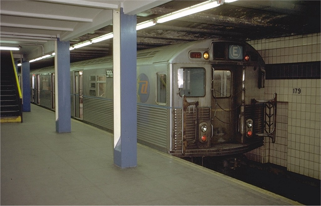 (172k, 1024x658)<br><b>Country:</b> United States<br><b>City:</b> New York<br><b>System:</b> New York City Transit<br><b>Line:</b> IND Queens Boulevard Line<br><b>Location:</b> 179th Street <br><b>Route:</b> E<br><b>Car:</b> R-38 (St. Louis, 1966-1967)  3996 <br><b>Photo by:</b> Doug Grotjahn<br><b>Collection of:</b> Joe Testagrose<br><b>Date:</b> 12/4/1971<br><b>Viewed (this week/total):</b> 1 / 4478