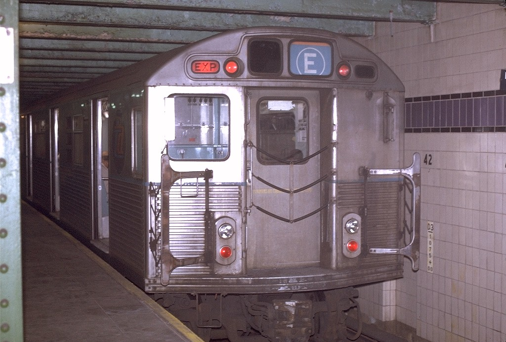 (211k, 1024x691)<br><b>Country:</b> United States<br><b>City:</b> New York<br><b>System:</b> New York City Transit<br><b>Line:</b> IND 8th Avenue Line<br><b>Location:</b> 42nd Street/Port Authority Bus Terminal (Lower Level) <br><b>Route:</b> E<br><b>Car:</b> R-38 (St. Louis, 1966-1967)  4001 <br><b>Photo by:</b> Joe Testagrose<br><b>Date:</b> 11/27/1970<br><b>Viewed (this week/total):</b> 6 / 14872