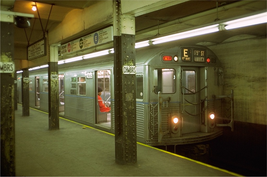 (169k, 1024x678)<br><b>Country:</b> United States<br><b>City:</b> New York<br><b>System:</b> New York City Transit<br><b>Line:</b> IND 8th Avenue Line<br><b>Location:</b> Chambers Street/World Trade Center <br><b>Route:</b> E<br><b>Car:</b> R-38 (St. Louis, 1966-1967)  4006 <br><b>Photo by:</b> Doug Grotjahn<br><b>Collection of:</b> Joe Testagrose<br><b>Date:</b> 5/2/1969<br><b>Viewed (this week/total):</b> 7 / 5052