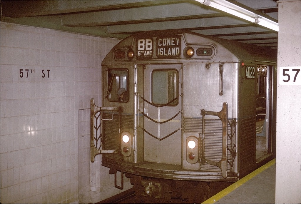 (210k, 1024x694)<br><b>Country:</b> United States<br><b>City:</b> New York<br><b>System:</b> New York City Transit<br><b>Line:</b> IND 6th Avenue Line<br><b>Location:</b> 57th Street <br><b>Route:</b> B<br><b>Car:</b> R-38 (St. Louis, 1966-1967)  4022 <br><b>Photo by:</b> Doug Grotjahn<br><b>Collection of:</b> Joe Testagrose<br><b>Date:</b> 2/14/1969<br><b>Viewed (this week/total):</b> 4 / 3352