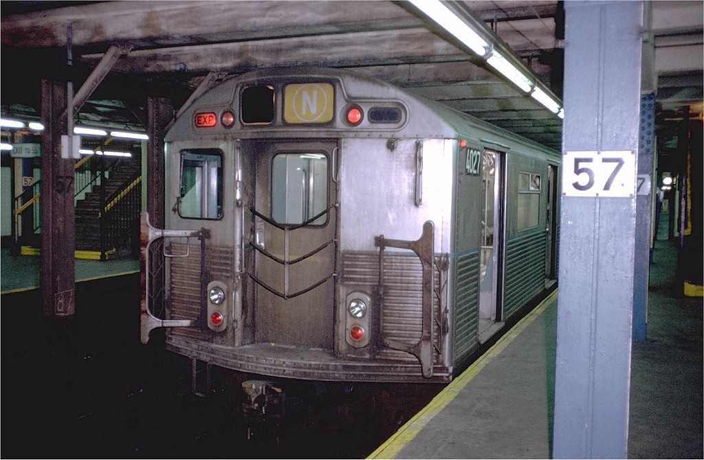 (195k, 1024x670)<br><b>Country:</b> United States<br><b>City:</b> New York<br><b>System:</b> New York City Transit<br><b>Line:</b> BMT Broadway Line<br><b>Location:</b> 57th Street <br><b>Route:</b> N<br><b>Car:</b> R-38 (St. Louis, 1966-1967)  4027 <br><b>Photo by:</b> Doug Grotjahn<br><b>Collection of:</b> Joe Testagrose<br><b>Date:</b> 10/14/1972<br><b>Viewed (this week/total):</b> 11 / 4331