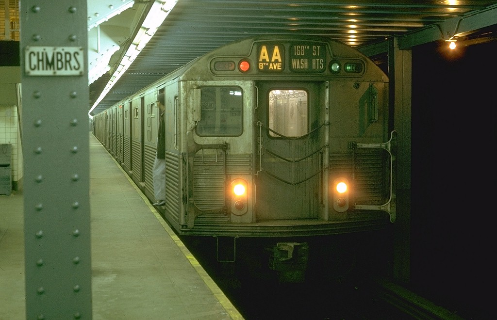 (155k, 1024x660)<br><b>Country:</b> United States<br><b>City:</b> New York<br><b>System:</b> New York City Transit<br><b>Line:</b> IND 8th Avenue Line<br><b>Location:</b> Chambers Street/World Trade Center <br><b>Route:</b> AA<br><b>Car:</b> R-38 (St. Louis, 1966-1967)  4075 <br><b>Photo by:</b> Joe Testagrose<br><b>Date:</b> 1/30/1970<br><b>Viewed (this week/total):</b> 0 / 4131
