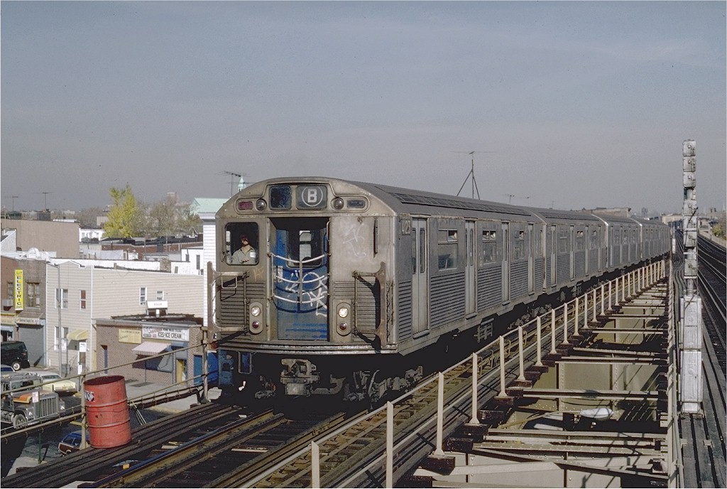 (201k, 1024x688)<br><b>Country:</b> United States<br><b>City:</b> New York<br><b>System:</b> New York City Transit<br><b>Line:</b> BMT West End Line<br><b>Location:</b> 62nd Street <br><b>Route:</b> B<br><b>Car:</b> R-38 (St. Louis, 1966-1967)  4123 <br><b>Photo by:</b> Steve Zabel<br><b>Collection of:</b> Joe Testagrose<br><b>Date:</b> 11/5/1981<br><b>Viewed (this week/total):</b> 5 / 4834
