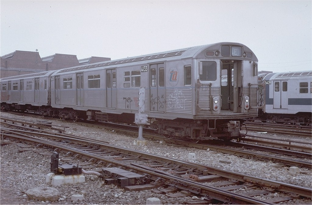 (200k, 1024x672)<br><b>Country:</b> United States<br><b>City:</b> New York<br><b>System:</b> New York City Transit<br><b>Location:</b> Coney Island Yard<br><b>Car:</b> R-38 (St. Louis, 1966-1967)  4133 <br><b>Photo by:</b> Steve Zabel<br><b>Collection of:</b> Joe Testagrose<br><b>Date:</b> 3/7/1973<br><b>Viewed (this week/total):</b> 0 / 3003
