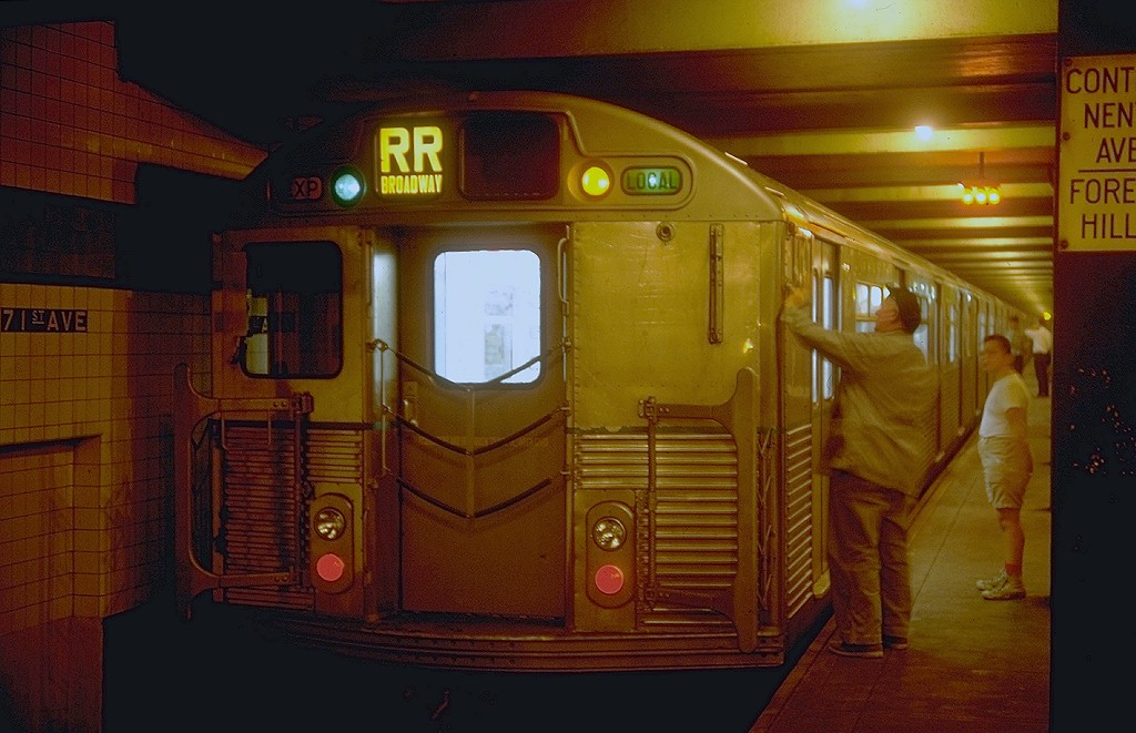 (177k, 1024x661)<br><b>Country:</b> United States<br><b>City:</b> New York<br><b>System:</b> New York City Transit<br><b>Line:</b> IND Queens Boulevard Line<br><b>Location:</b> 71st/Continental Aves./Forest Hills <br><b>Route:</b> RR<br><b>Car:</b> R-38 (St. Louis, 1966-1967)  4141 <br><b>Photo by:</b> Doug Grotjahn<br><b>Collection of:</b> Joe Testagrose<br><b>Date:</b> 9/5/1967<br><b>Viewed (this week/total):</b> 0 / 4690