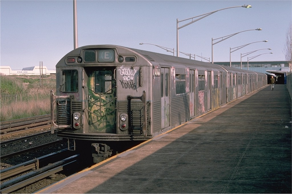 (207k, 1024x681)<br><b>Country:</b> United States<br><b>City:</b> New York<br><b>System:</b> New York City Transit<br><b>Line:</b> IND Rockaway<br><b>Location:</b> Howard Beach <br><b>Route:</b> E<br><b>Car:</b> R-38 (St. Louis, 1966-1967)  4144 <br><b>Photo by:</b> Doug Grotjahn<br><b>Collection of:</b> Joe Testagrose<br><b>Date:</b> 6/4/1976<br><b>Viewed (this week/total):</b> 6 / 5452