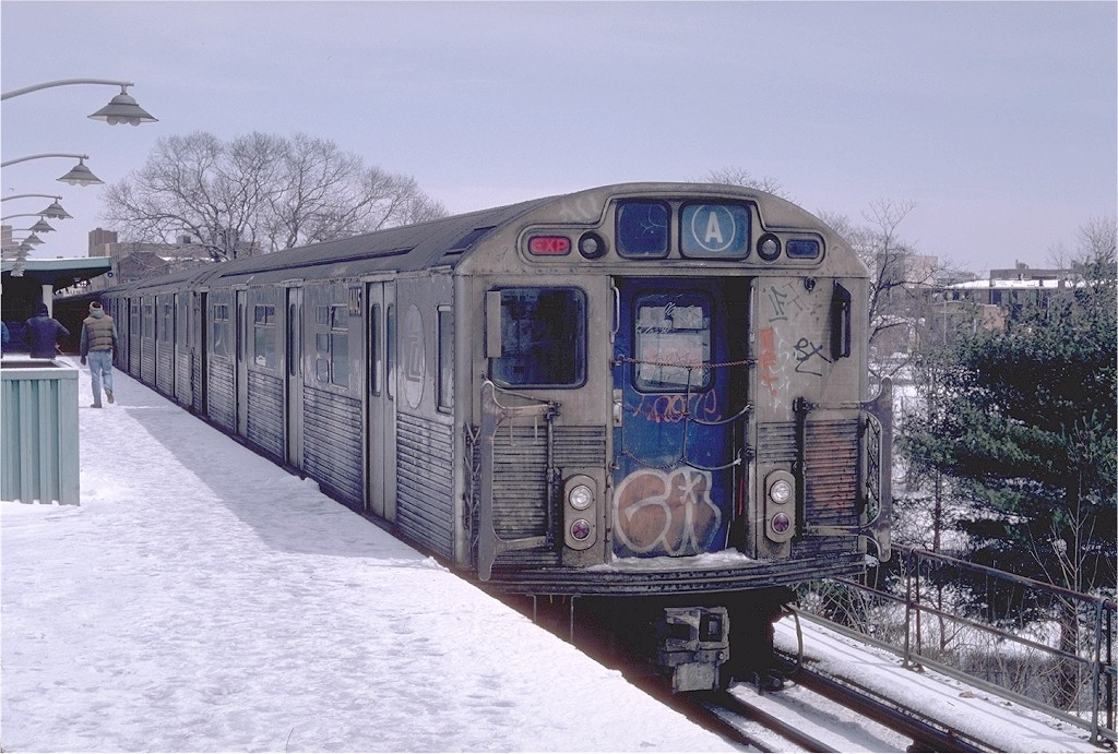 (219k, 1024x691)<br><b>Country:</b> United States<br><b>City:</b> New York<br><b>System:</b> New York City Transit<br><b>Line:</b> IND Rockaway<br><b>Location:</b> Mott Avenue/Far Rockaway <br><b>Route:</b> A<br><b>Car:</b> R-38 (St. Louis, 1966-1967)  4145 <br><b>Photo by:</b> Steve Zabel<br><b>Collection of:</b> Joe Testagrose<br><b>Date:</b> 4/7/1982<br><b>Viewed (this week/total):</b> 2 / 4849
