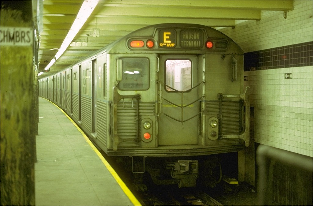 (166k, 1024x673)<br><b>Country:</b> United States<br><b>City:</b> New York<br><b>System:</b> New York City Transit<br><b>Line:</b> IND 8th Avenue Line<br><b>Location:</b> Chambers Street/World Trade Center <br><b>Route:</b> E<br><b>Car:</b> R-38 (St. Louis, 1966-1967)   <br><b>Collection of:</b> Joe Testagrose<br><b>Date:</b> 4/10/1969<br><b>Viewed (this week/total):</b> 0 / 4262