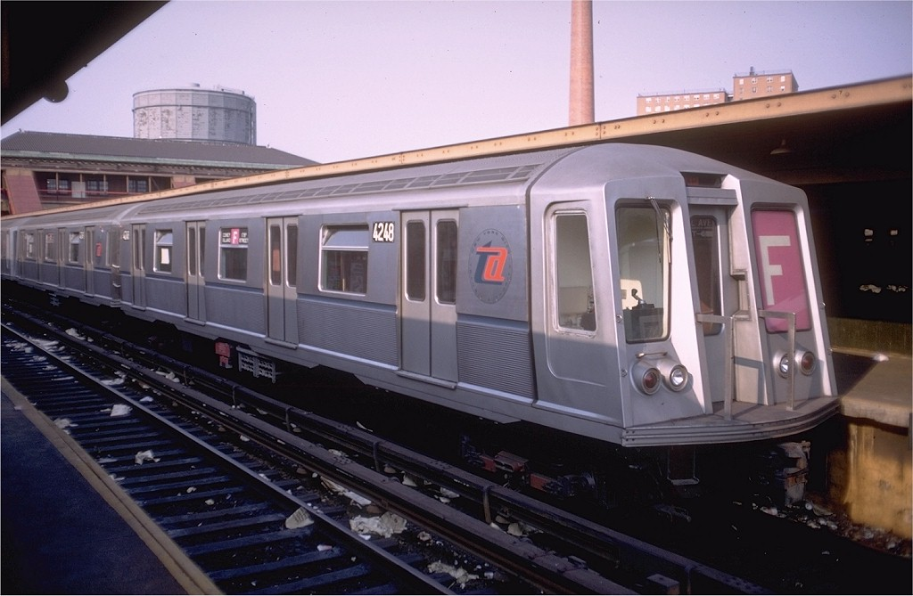 (154k, 1024x669)<br><b>Country:</b> United States<br><b>City:</b> New York<br><b>System:</b> New York City Transit<br><b>Location:</b> Coney Island/Stillwell Avenue<br><b>Route:</b> F<br><b>Car:</b> R-40 (St. Louis, 1968)  4248 <br><b>Photo by:</b> Doug Grotjahn<br><b>Collection of:</b> Joe Testagrose<br><b>Date:</b> 9/21/1968<br><b>Viewed (this week/total):</b> 6 / 8853