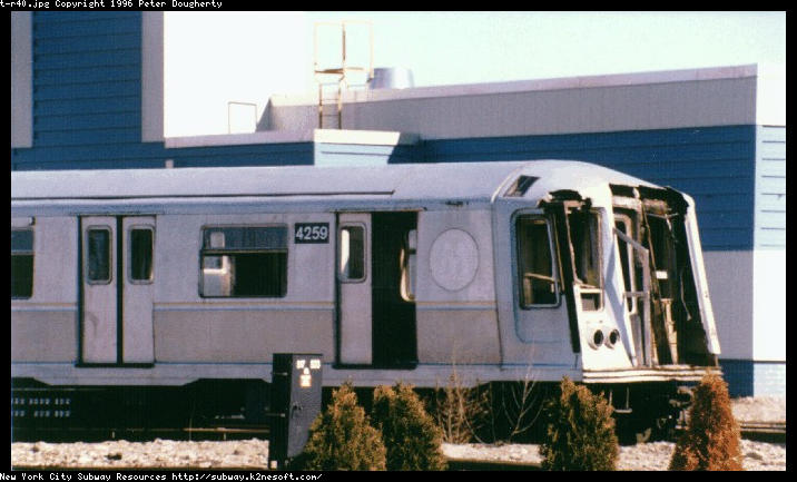 (58k, 716x433)<br><b>Country:</b> United States<br><b>City:</b> New York<br><b>System:</b> New York City Transit<br><b>Location:</b> Coney Island Yard<br><b>Car:</b> R-40 (St. Louis, 1968)  4259 (ex-4359)<br><b>Photo by:</b> Peter Dougherty<br><b>Date:</b> 2/24/1996<br><b>Notes:</b> R40 #4259 with front-end damage awaiting repair<br><b>Viewed (this week/total):</b> 9 / 7042