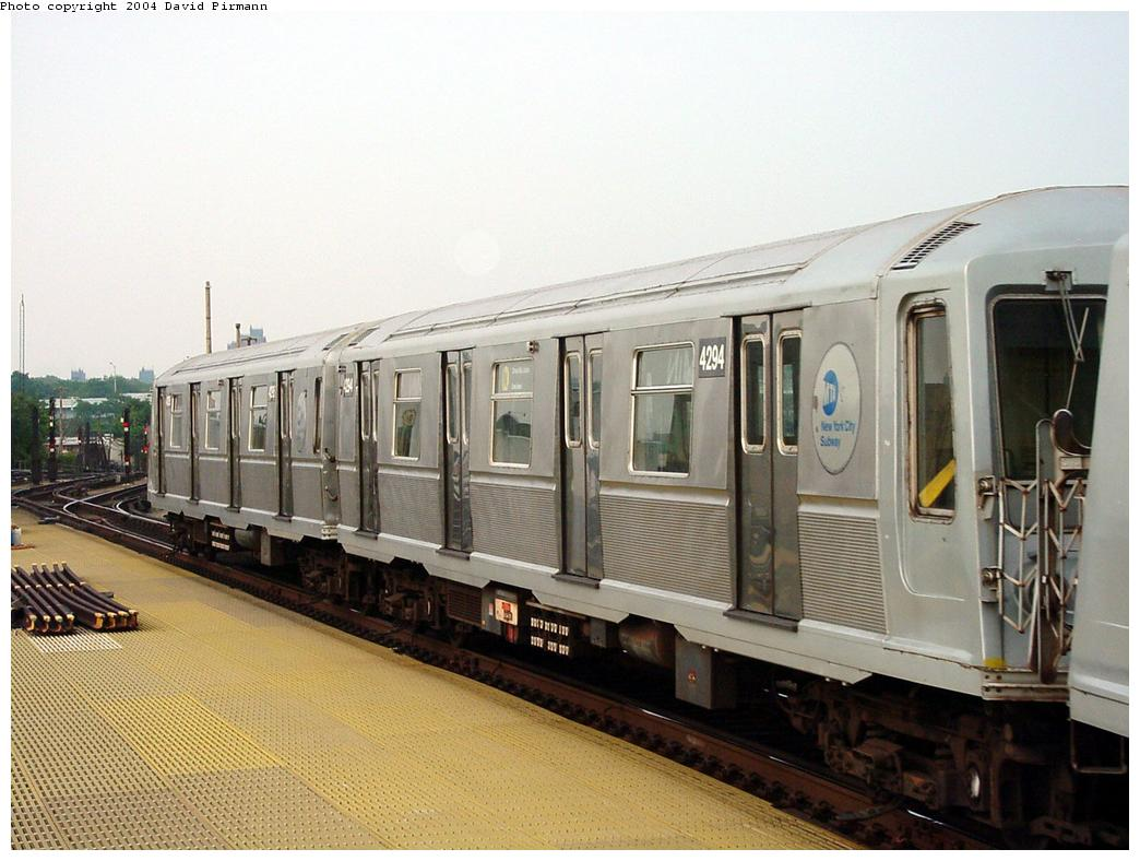 (119k, 1044x788)<br><b>Country:</b> United States<br><b>City:</b> New York<br><b>System:</b> New York City Transit<br><b>Location:</b> Coney Island/Stillwell Avenue<br><b>Route:</b> N<br><b>Car:</b> R-40 (St. Louis, 1968)  4294 (ex-4394)<br><b>Photo by:</b> David Pirmann<br><b>Date:</b> 8/27/2000<br><b>Viewed (this week/total):</b> 1 / 3315