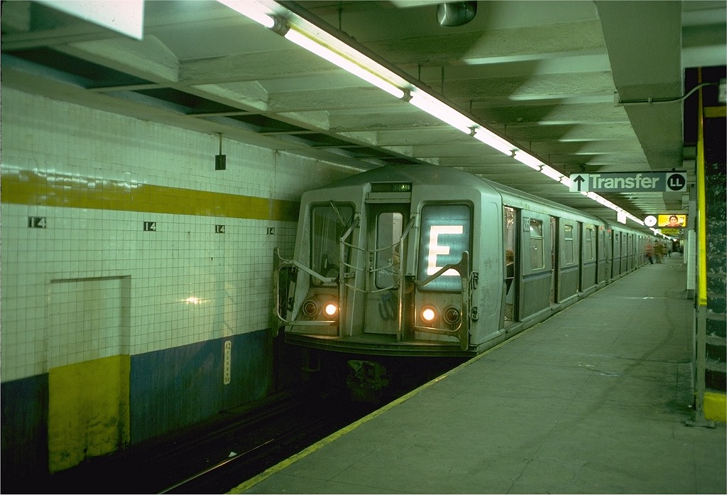 (183k, 1024x697)<br><b>Country:</b> United States<br><b>City:</b> New York<br><b>System:</b> New York City Transit<br><b>Line:</b> IND 8th Avenue Line<br><b>Location:</b> 14th Street <br><b>Route:</b> E<br><b>Car:</b> R-40 (St. Louis, 1968)  4315 (ex-4415)<br><b>Photo by:</b> Doug Grotjahn<br><b>Collection of:</b> Joe Testagrose<br><b>Date:</b> 10/31/1976<br><b>Viewed (this week/total):</b> 0 / 4393