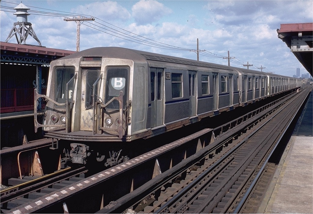 (241k, 1024x699)<br><b>Country:</b> United States<br><b>City:</b> New York<br><b>System:</b> New York City Transit<br><b>Line:</b> BMT West End Line<br><b>Location:</b> Bay 50th Street <br><b>Route:</b> B<br><b>Car:</b> R-40 (St. Louis, 1968)  4338 (ex-4438)<br><b>Photo by:</b> Doug Grotjahn<br><b>Collection of:</b> Joe Testagrose<br><b>Date:</b> 10/26/1980<br><b>Viewed (this week/total):</b> 2 / 4316