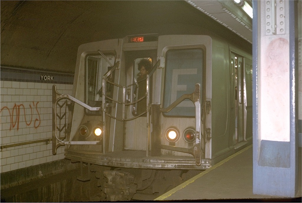 (168k, 1024x689)<br><b>Country:</b> United States<br><b>City:</b> New York<br><b>System:</b> New York City Transit<br><b>Line:</b> IND 6th Avenue Line<br><b>Location:</b> York Street <br><b>Route:</b> E<br><b>Car:</b> R-40 (St. Louis, 1968)  4342 (ex-4442)<br><b>Photo by:</b> Steve Zabel<br><b>Collection of:</b> Joe Testagrose<br><b>Date:</b> 12/15/1972<br><b>Viewed (this week/total):</b> 2 / 5201