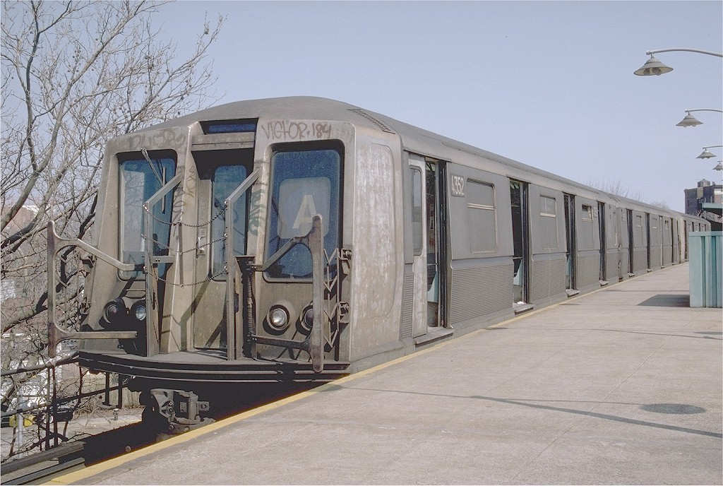 (220k, 1024x688)<br><b>Country:</b> United States<br><b>City:</b> New York<br><b>System:</b> New York City Transit<br><b>Line:</b> IND Rockaway<br><b>Location:</b> Mott Avenue/Far Rockaway <br><b>Route:</b> A<br><b>Car:</b> R-40 (St. Louis, 1968)  4352 (ex-4452)<br><b>Photo by:</b> Steve Zabel<br><b>Collection of:</b> Joe Testagrose<br><b>Date:</b> 3/24/1982<br><b>Viewed (this week/total):</b> 8 / 4944