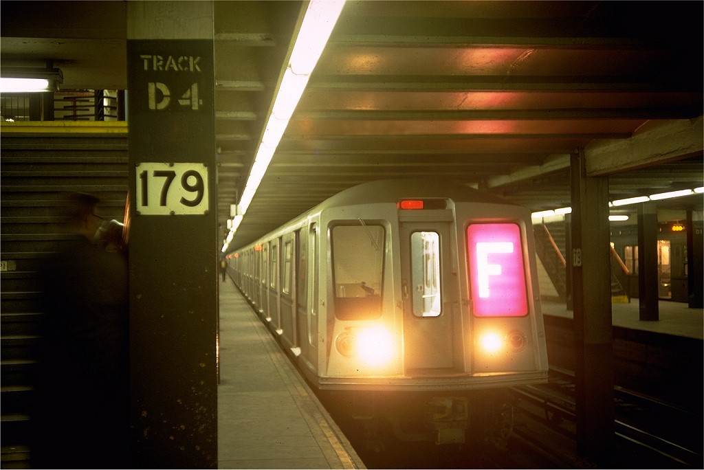 (139k, 1024x684)<br><b>Country:</b> United States<br><b>City:</b> New York<br><b>System:</b> New York City Transit<br><b>Line:</b> IND Queens Boulevard Line<br><b>Location:</b> 179th Street <br><b>Route:</b> F<br><b>Car:</b> R-40 (St. Louis, 1968)  4355 (ex-4454)<br><b>Photo by:</b> Doug Grotjahn<br><b>Collection of:</b> Joe Testagrose<br><b>Date:</b> 3/24/1968<br><b>Viewed (this week/total):</b> 0 / 5135