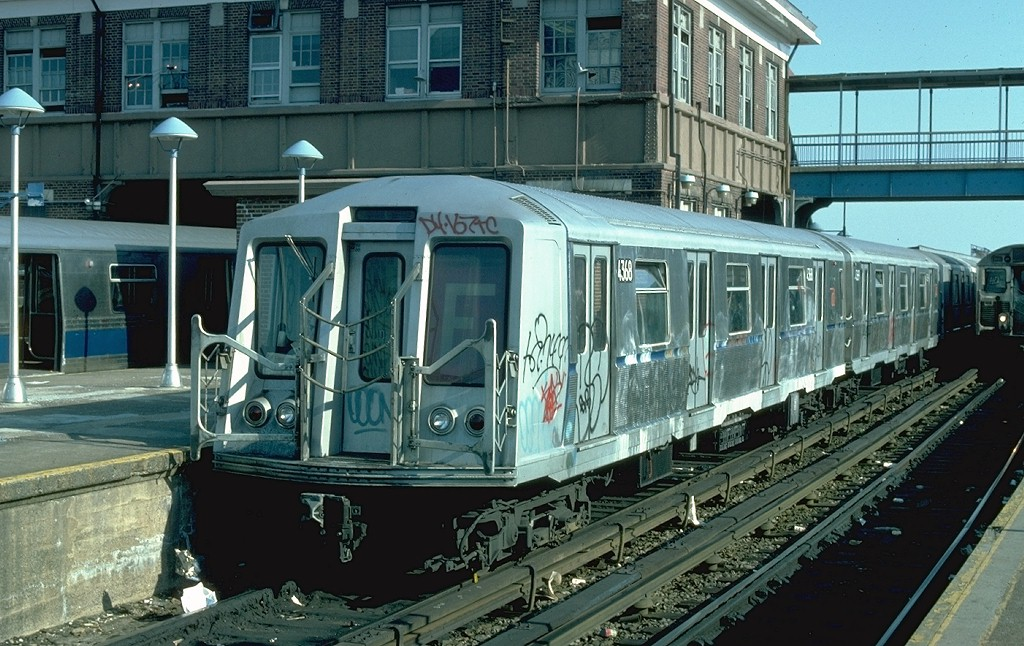 (226k, 1024x646)<br><b>Country:</b> United States<br><b>City:</b> New York<br><b>System:</b> New York City Transit<br><b>Location:</b> Coney Island/Stillwell Avenue<br><b>Route:</b> F<br><b>Car:</b> R-40 (St. Louis, 1968)  4368 (ex-4468)<br><b>Photo by:</b> Ed McKernan<br><b>Collection of:</b> Joe Testagrose<br><b>Date:</b> 5/1/1977<br><b>Viewed (this week/total):</b> 0 / 4387