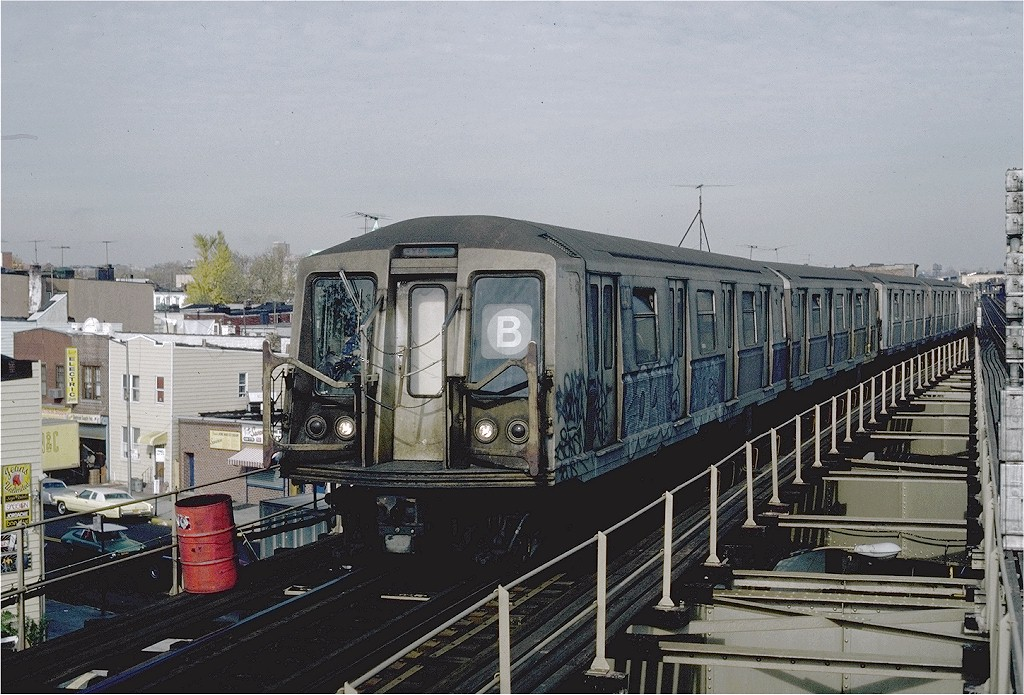 (228k, 1024x695)<br><b>Country:</b> United States<br><b>City:</b> New York<br><b>System:</b> New York City Transit<br><b>Line:</b> BMT West End Line<br><b>Location:</b> 62nd Street <br><b>Route:</b> B<br><b>Car:</b> R-40 (St. Louis, 1968)  4431 (ex-4531)<br><b>Photo by:</b> Steve Zabel<br><b>Collection of:</b> Joe Testagrose<br><b>Date:</b> 11/5/1981<br><b>Viewed (this week/total):</b> 8 / 8894