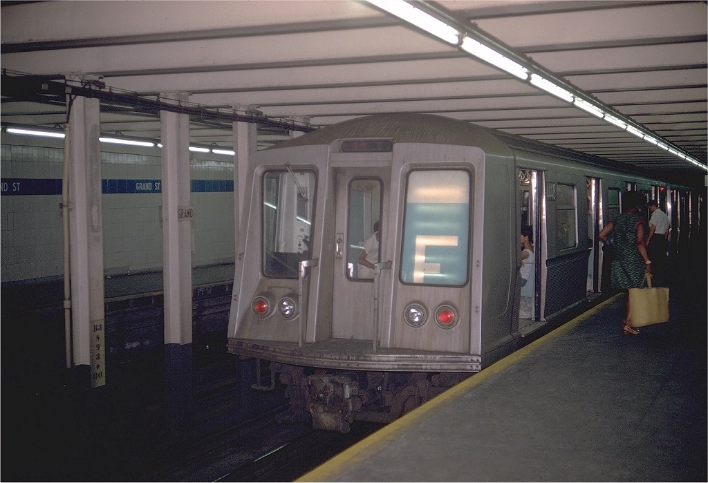 (175k, 1024x699)<br><b>Country:</b> United States<br><b>City:</b> New York<br><b>System:</b> New York City Transit<br><b>Line:</b> IND 6th Avenue Line<br><b>Location:</b> Grand Street <br><b>Route:</b> D<br><b>Car:</b> R-40 (St. Louis, 1968)  4448 (ex-4548)<br><b>Photo by:</b> Doug Grotjahn<br><b>Collection of:</b> Joe Testagrose<br><b>Date:</b> 6/29/1969<br><b>Viewed (this week/total):</b> 0 / 7725