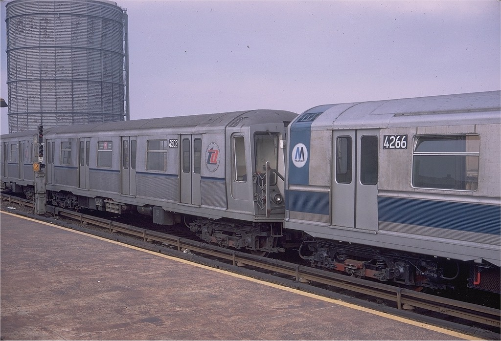 (210k, 1024x698)<br><b>Country:</b> United States<br><b>City:</b> New York<br><b>System:</b> New York City Transit<br><b>Location:</b> Coney Island/Stillwell Avenue<br><b>Route:</b> F<br><b>Car:</b> R-40 (St. Louis, 1968)  4502 (ex-4302)<br><b>Photo by:</b> Doug Grotjahn<br><b>Collection of:</b> Joe Testagrose<br><b>Date:</b> 3/29/1969<br><b>Viewed (this week/total):</b> 0 / 3406