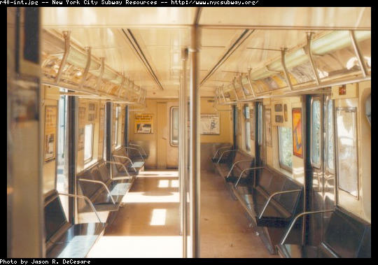 (43k, 540x379)<br><b>Country:</b> United States<br><b>City:</b> New York<br><b>System:</b> New York City Transit<br><b>Car:</b> R-40 (St. Louis, 1968)  Interior <br><b>Photo by:</b> Jason R. DeCesare<br><b>Date:</b> 6/1997<br><b>Viewed (this week/total):</b> 0 / 16827
