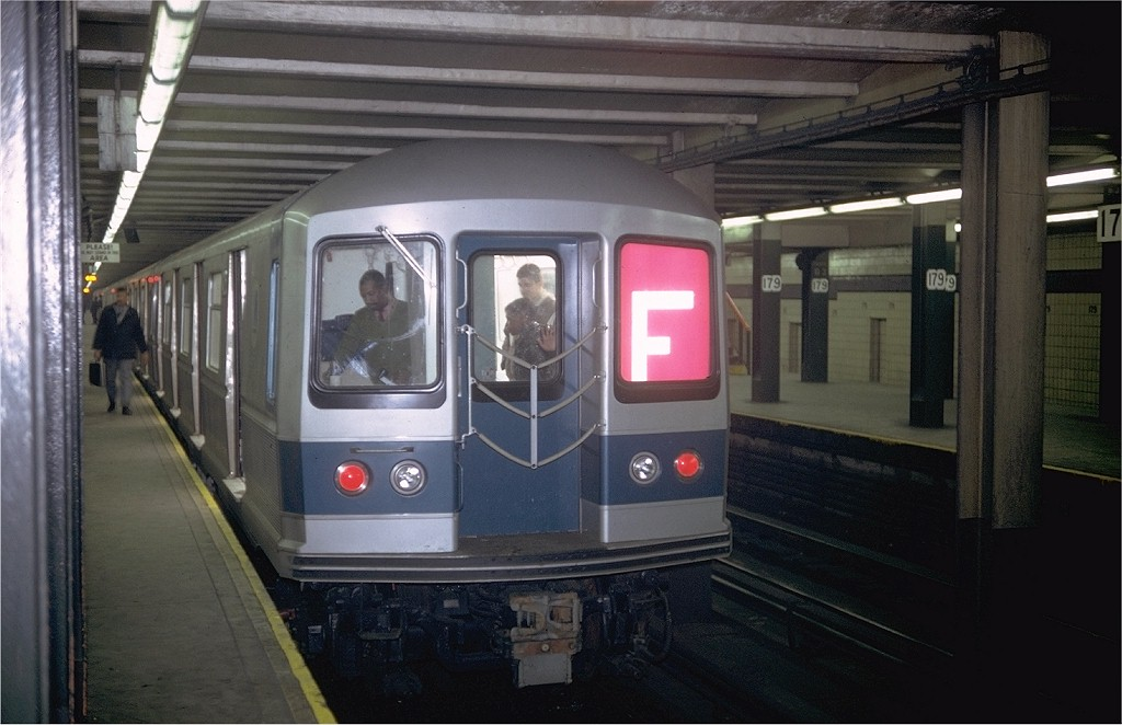 (161k, 1024x662)<br><b>Country:</b> United States<br><b>City:</b> New York<br><b>System:</b> New York City Transit<br><b>Line:</b> IND Queens Boulevard Line<br><b>Location:</b> 179th Street <br><b>Route:</b> F<br><b>Car:</b> R-40M (St. Louis, 1969)  4253 (ex-4353)<br><b>Photo by:</b> Doug Grotjahn<br><b>Collection of:</b> Joe Testagrose<br><b>Date:</b> 3/1969<br><b>Viewed (this week/total):</b> 0 / 3898
