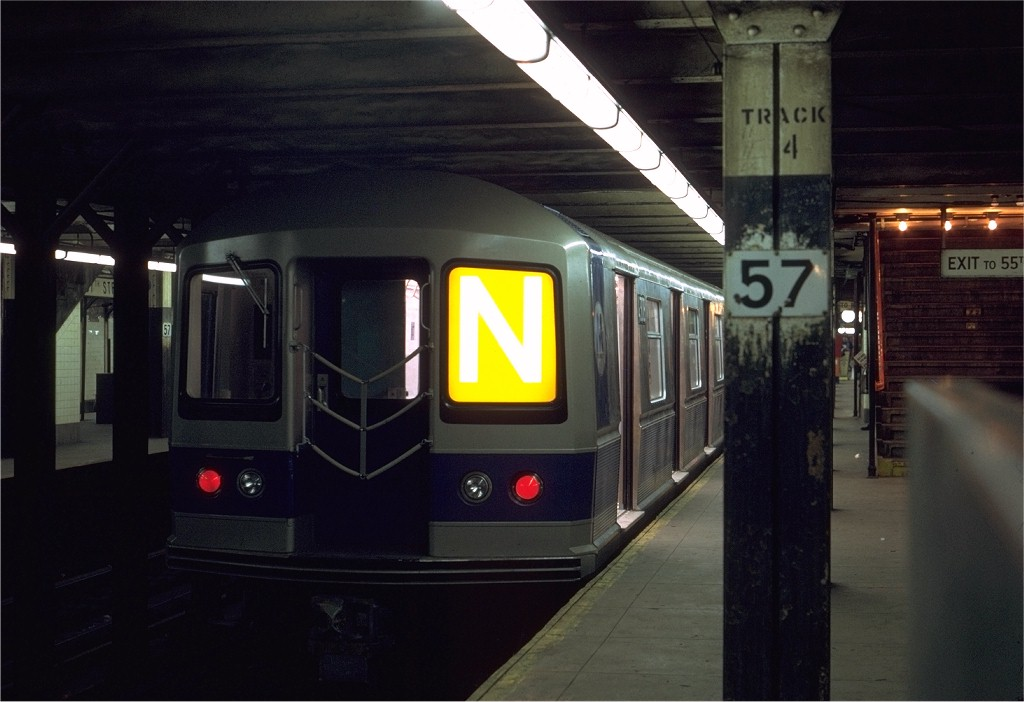 (142k, 1024x702)<br><b>Country:</b> United States<br><b>City:</b> New York<br><b>System:</b> New York City Transit<br><b>Line:</b> BMT Broadway Line<br><b>Location:</b> 57th Street <br><b>Route:</b> N<br><b>Car:</b> R-40M (St. Louis, 1969)  4308 <br><b>Photo by:</b> Joe Testagrose<br><b>Date:</b> 4/8/1969<br><b>Viewed (this week/total):</b> 3 / 3720
