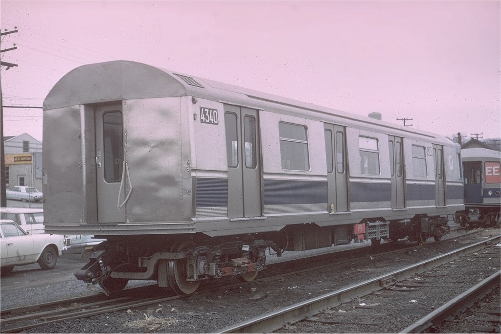 (166k, 1024x683)<br><b>Country:</b> United States<br><b>City:</b> New York<br><b>System:</b> New York City Transit<br><b>Location:</b> Enola Yard, Harrisburg PA<br><b>Car:</b> R-40M (St. Louis, 1969)  4340 <br><b>Photo by:</b> Gerald H. Landau<br><b>Collection of:</b> Joe Testagrose<br><b>Date:</b> 4/1969<br><b>Viewed (this week/total):</b> 0 / 3402