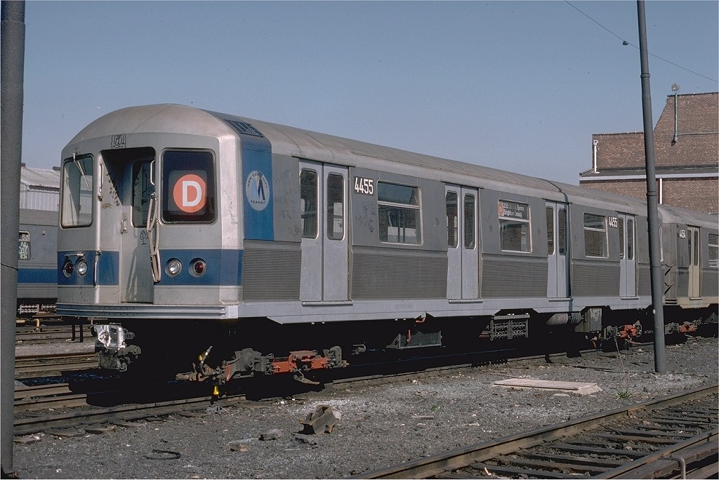 (210k, 1024x684)<br><b>Country:</b> United States<br><b>City:</b> New York<br><b>System:</b> New York City Transit<br><b>Location:</b> Coney Island Yard<br><b>Car:</b> R-40M (St. Louis, 1969)  4455 (ex-4255)<br><b>Photo by:</b> Steve Zabel<br><b>Collection of:</b> Joe Testagrose<br><b>Date:</b> 4/18/1978<br><b>Viewed (this week/total):</b> 9 / 4572
